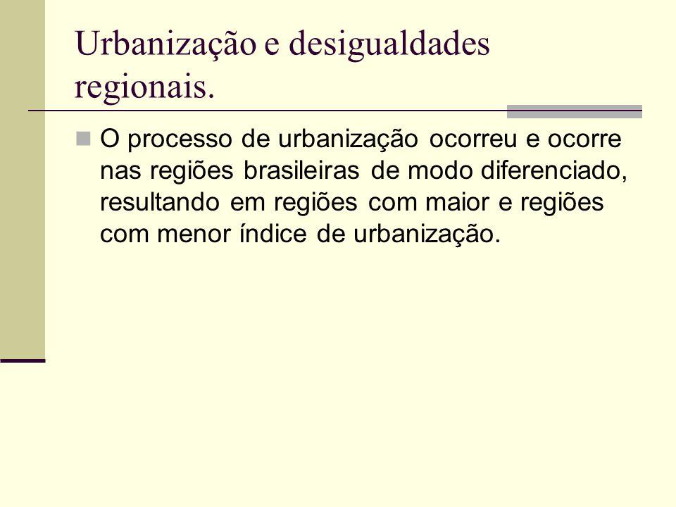 Urbanização e desigualdades regionais.