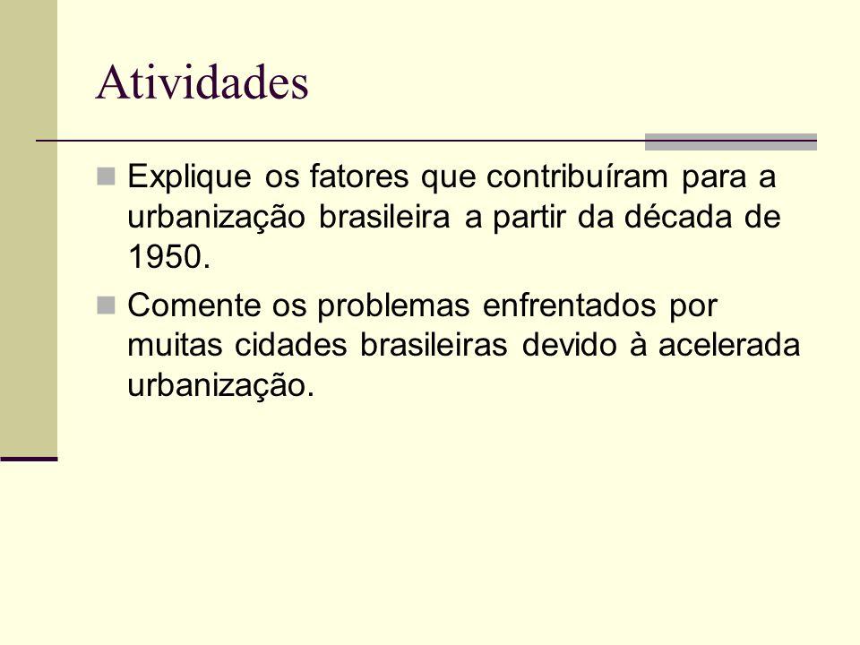 Atividades Explique os fatores que contribuíram para a urbanização brasileira a partir da década de 1950.