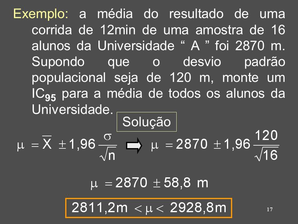 Exemplo: a média do resultado de uma corrida de 12min de uma amostra de 16 alunos da Universidade A foi 2870 m. Supondo que o desvio padrão populacional seja de 120 m, monte um IC95 para a média de todos os alunos da Universidade.