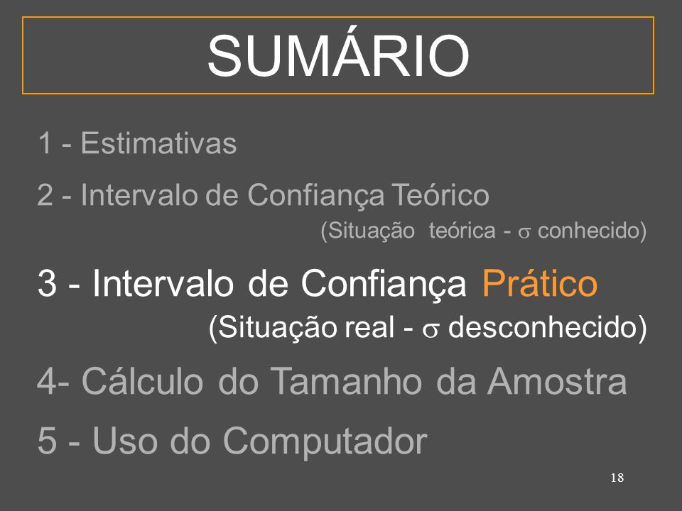 SUMÁRIO 3 - Intervalo de Confiança Prático