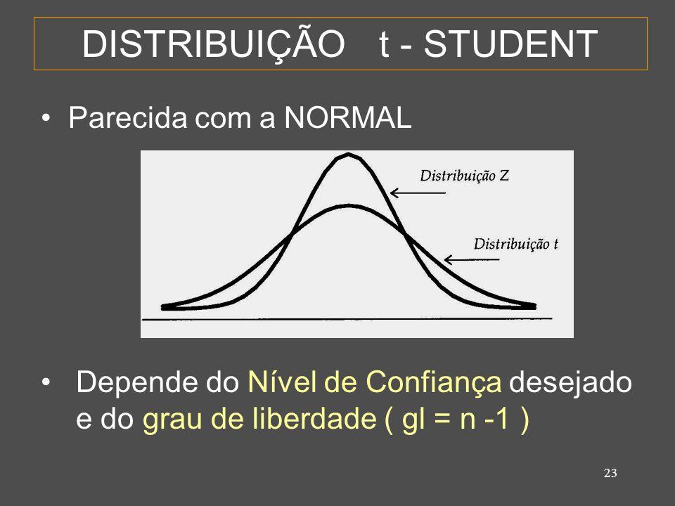 DISTRIBUIÇÃO t - STUDENT