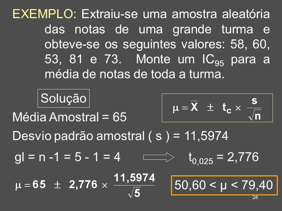 EXEMPLO: Extraiu-se uma amostra aleatória das notas de uma grande turma e obteve-se os seguintes valores: 58, 60, 53, 81 e 73. Monte um IC95 para a média de notas de toda a turma.