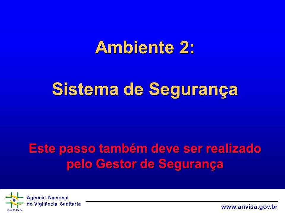 Ambiente 2: Sistema de Segurança Este passo também deve ser realizado pelo Gestor de Segurança