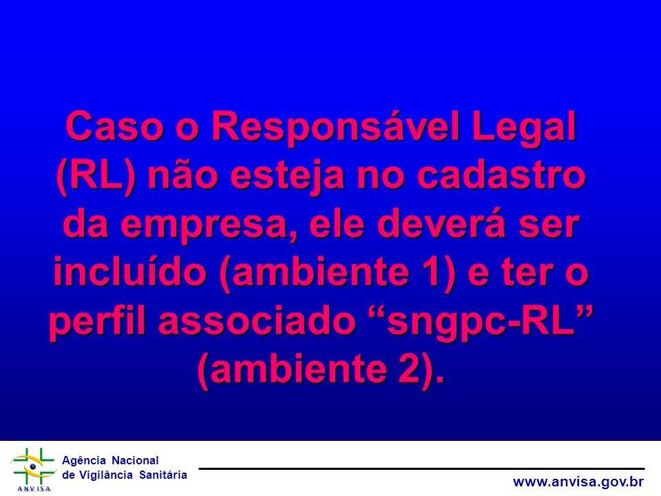 Caso o Responsável Legal (RL) não esteja no cadastro da empresa, ele deverá ser incluído (ambiente 1) e ter o perfil associado sngpc-RL (ambiente 2).