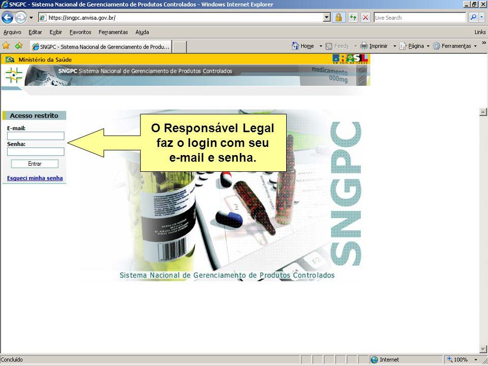 O Responsável Legal faz o login com seu