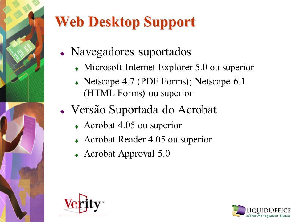 Web Desktop Support Navegadores suportados Versão Suportada do Acrobat