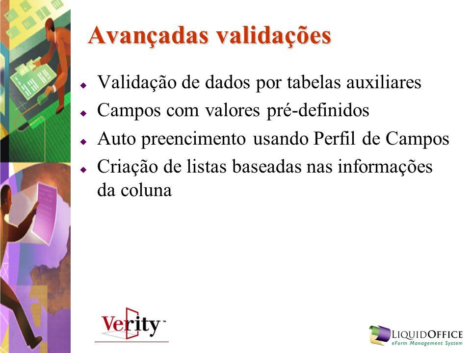 Avançadas validações Validação de dados por tabelas auxiliares