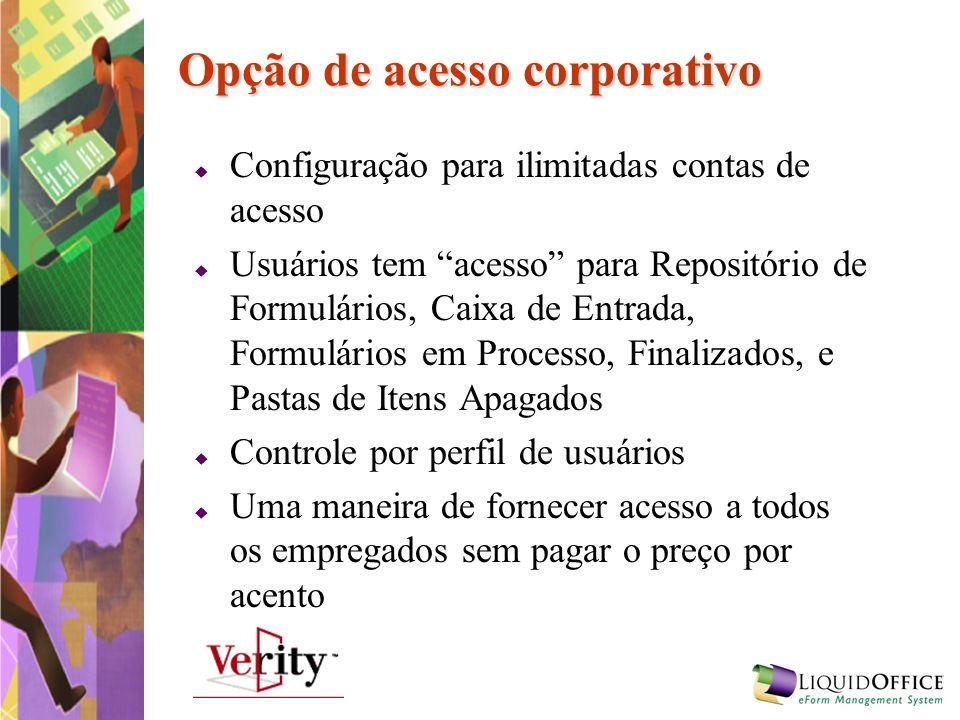 Opção de acesso corporativo