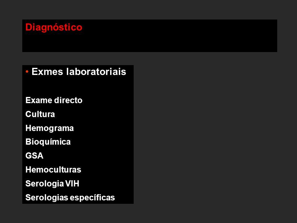 Diagnóstico Exmes laboratoriais Exame directo Cultura Hemograma