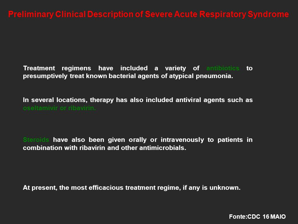 Preliminary Clinical Description of Severe Acute Respiratory Syndrome