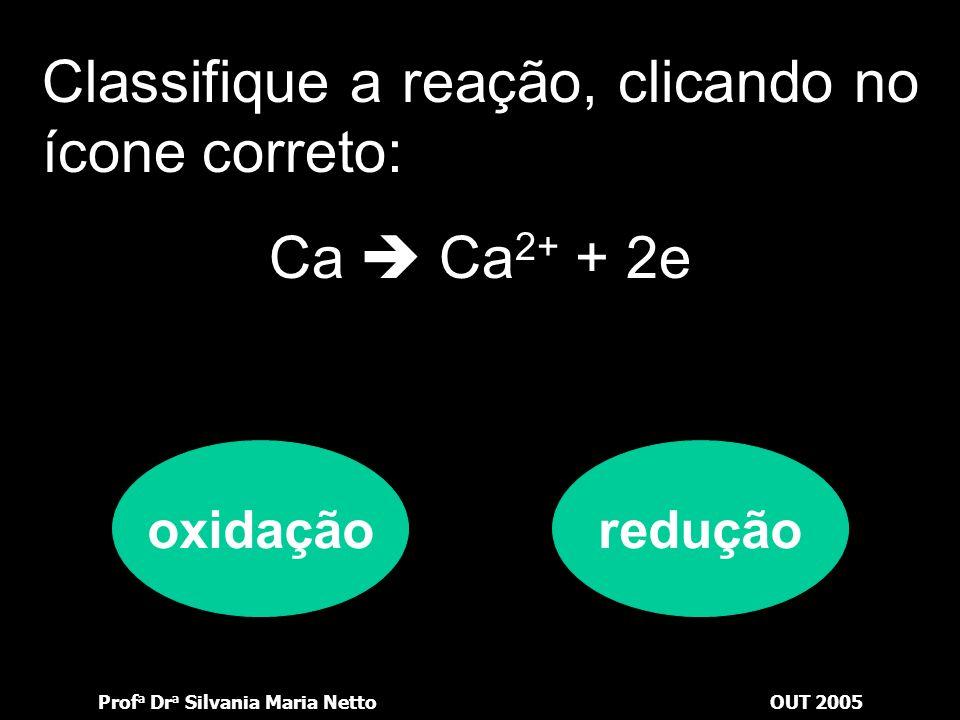 Classifique a reação, clicando no ícone correto: Ca  Ca2+ + 2e