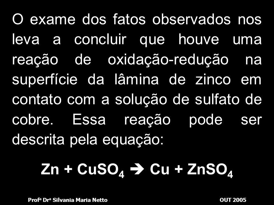 O exame dos fatos observados nos leva a concluir que houve uma reação de oxidação-redução na superfície da lâmina de zinco em contato com a solução de sulfato de cobre. Essa reação pode ser descrita pela equação: