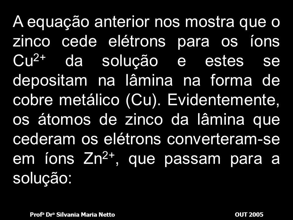 A equação anterior nos mostra que o zinco cede elétrons para os íons Cu2+ da solução e estes se depositam na lâmina na forma de cobre metálico (Cu).
