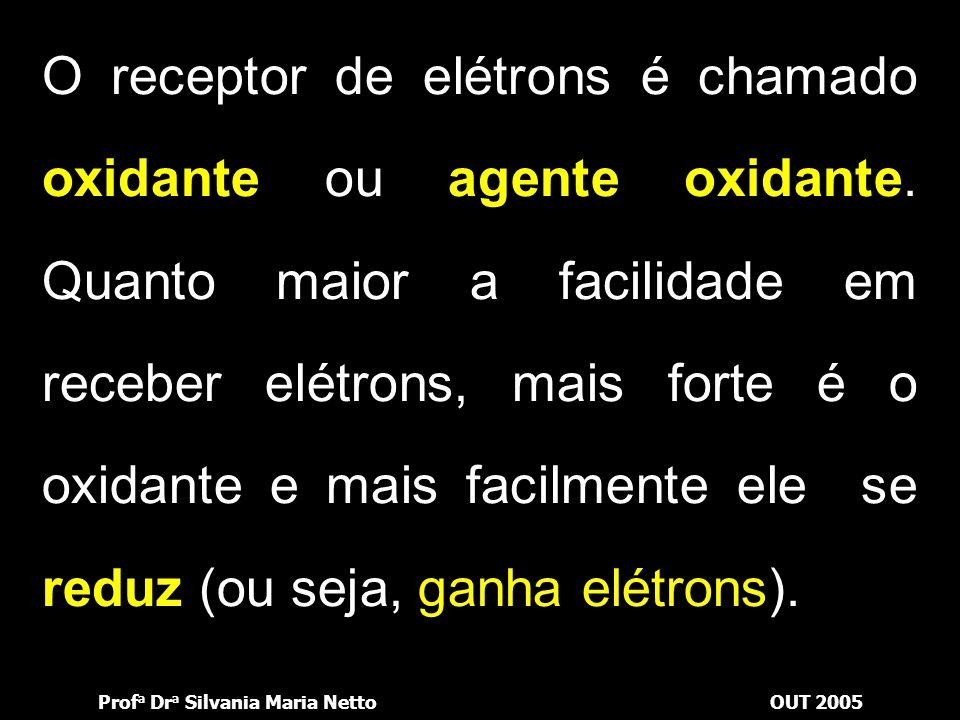 O receptor de elétrons é chamado oxidante ou agente oxidante