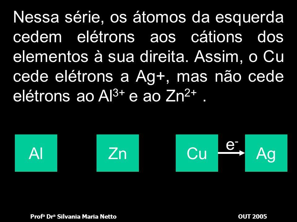 Nessa série, os átomos da esquerda cedem elétrons aos cátions dos elementos à sua direita. Assim, o Cu cede elétrons a Ag+, mas não cede elétrons ao Al3+ e ao Zn2+ .