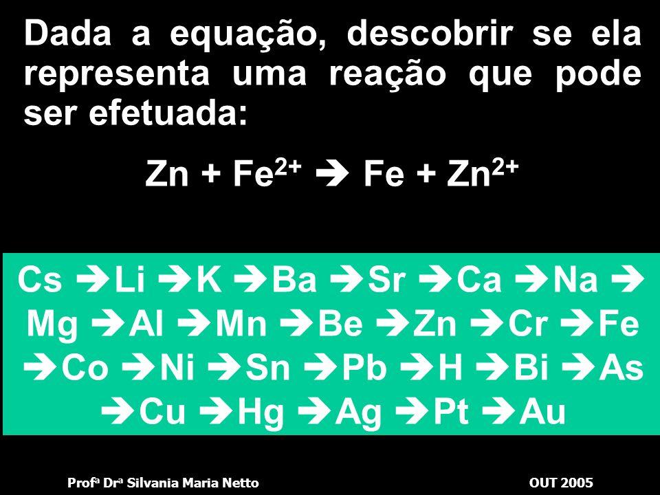 Dada a equação, descobrir se ela representa uma reação que pode ser efetuada: