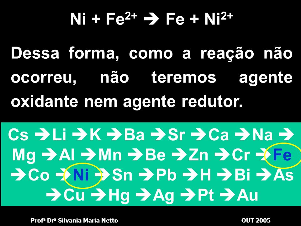 Ni + Fe2+  Fe + Ni2+ Dessa forma, como a reação não ocorreu, não teremos agente oxidante nem agente redutor.