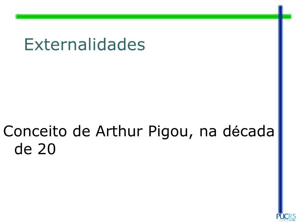 Externalidades Conceito de Arthur Pigou, na década de 20