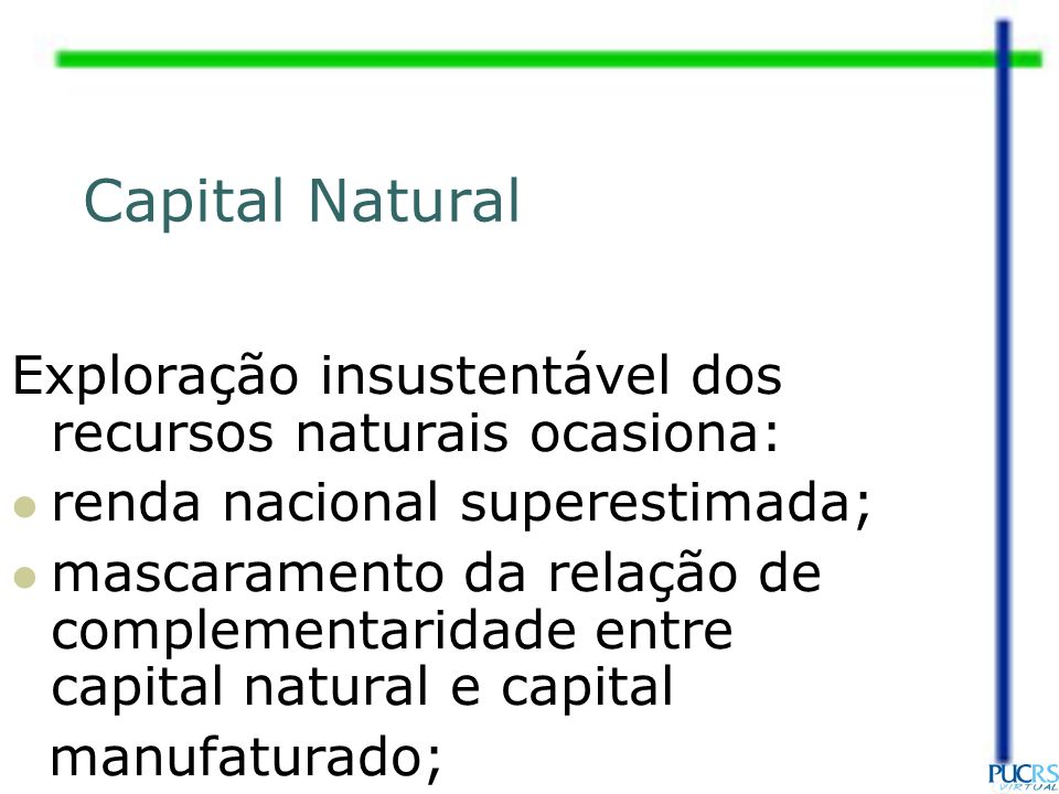 Capital Natural Exploração insustentável dos recursos naturais ocasiona: renda nacional superestimada;