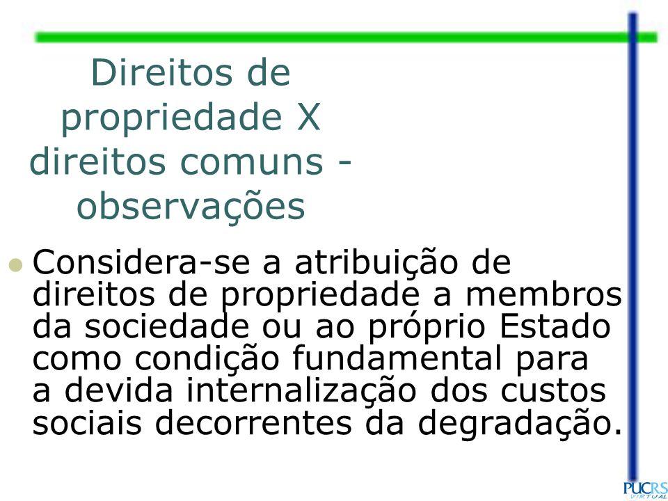 Direitos de propriedade X direitos comuns - observações