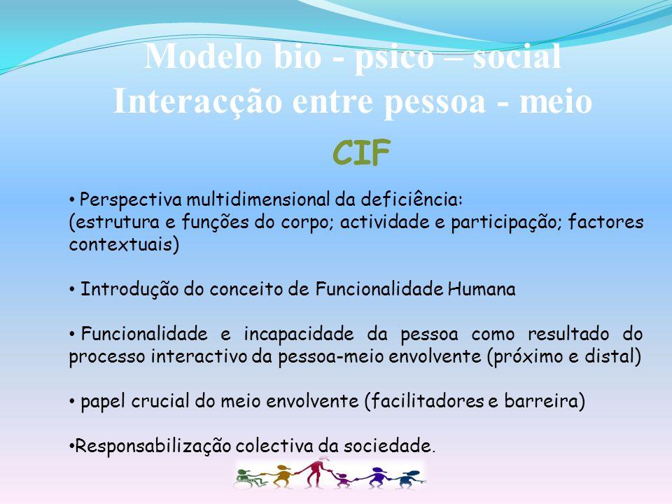 Modelo bio - psico – social Interacção entre pessoa - meio