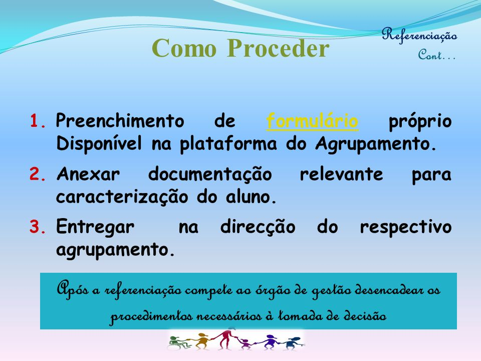 Referenciação Cont… Como Proceder. Preenchimento de formulário próprio Disponível na plataforma do Agrupamento.