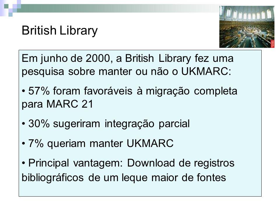 British Library Em junho de 2000, a British Library fez uma pesquisa sobre manter ou não o UKMARC: