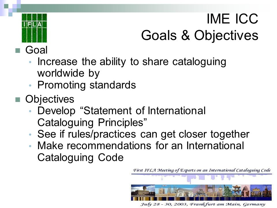 IME ICC Goals & Objectives