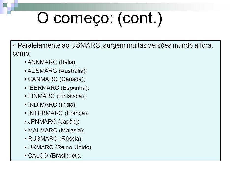 O começo: (cont.) Paralelamente ao USMARC, surgem muitas versões mundo a fora, como: ANNMARC (Itália);