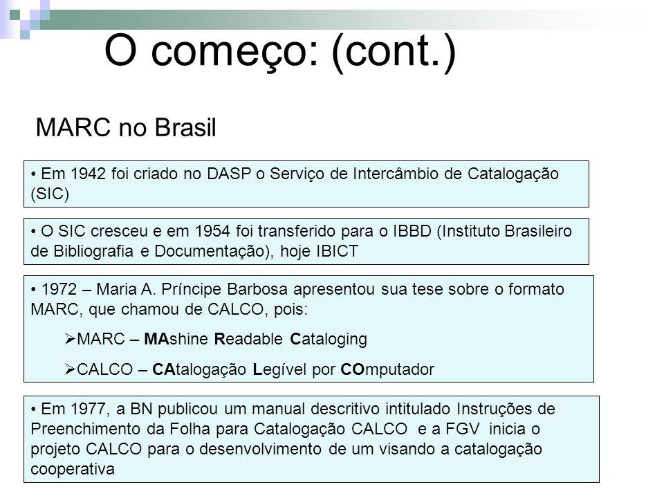 O começo: (cont.) MARC no Brasil