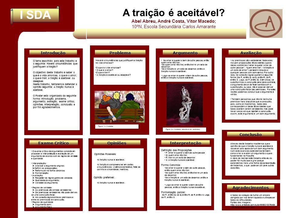 A traição é aceitável Abel Abreu, André Costa, Vítor Macedo;