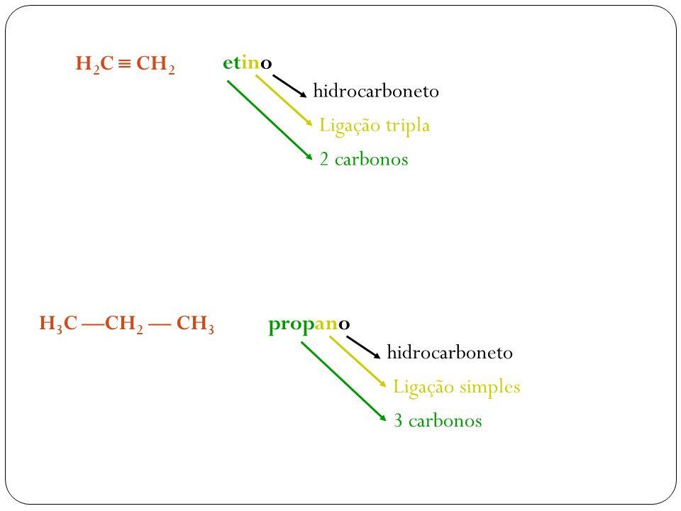 H2C  CH2 etino. hidrocarboneto. Ligação tripla. 2 carbonos. H3C —CH2 — CH3. propano. hidrocarboneto.