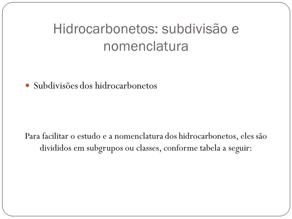 Hidrocarbonetos: subdivisão e nomenclatura