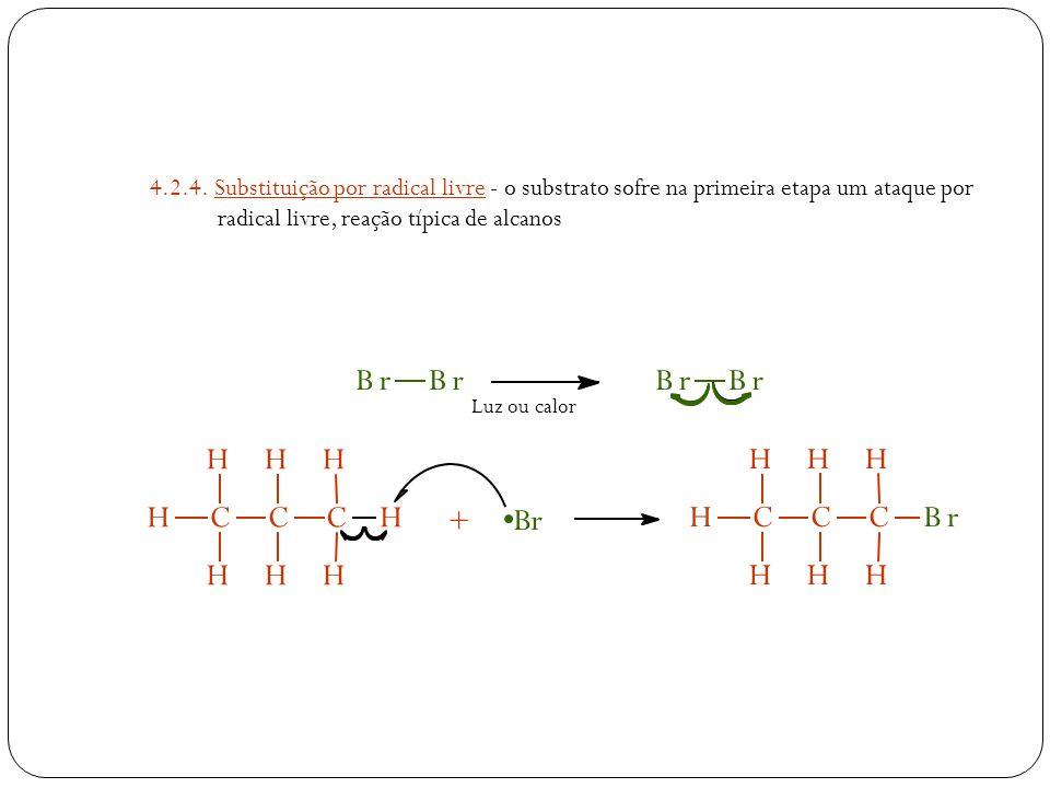 4.2.4. Substituição por radical livre - o substrato sofre na primeira etapa um ataque por radical livre, reação típica de alcanos