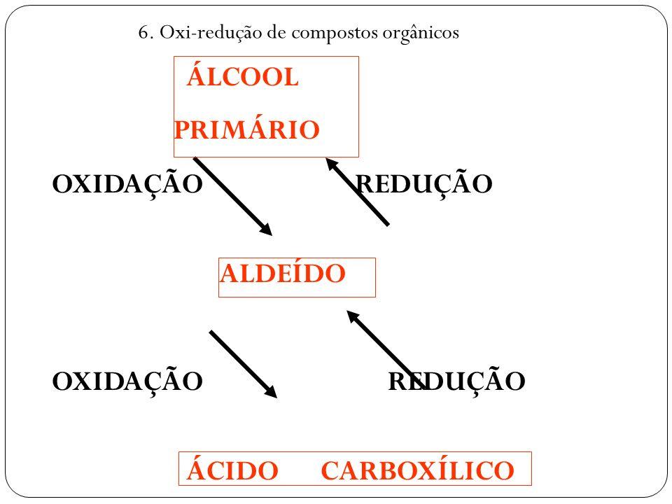 ÁLCOOL PRIMÁRIO OXIDAÇÃO REDUÇÃO ALDEÍDO OXIDAÇÃO REDUÇÃO