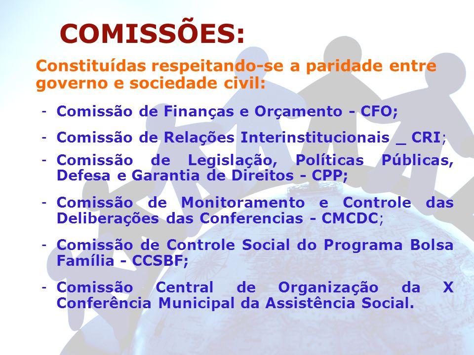 COMISSÕES:Constituídas respeitando-se a paridade entre governo e sociedade civil: Comissão de Finanças e Orçamento - CFO;
