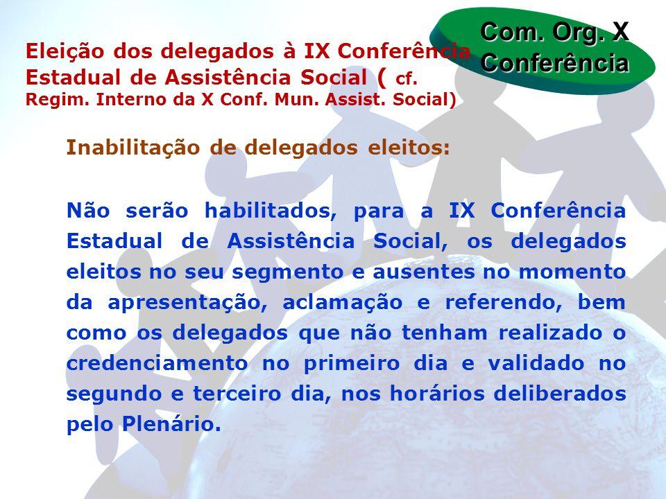 Com. Org. X Conferência Eleição dos delegados à IX Conferência Estadual de Assistência Social ( cf. Regim. Interno da X Conf. Mun. Assist. Social)