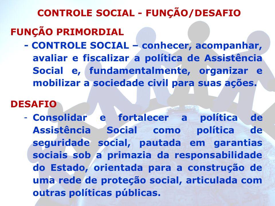 CONTROLE SOCIAL - FUNÇÃO/DESAFIO