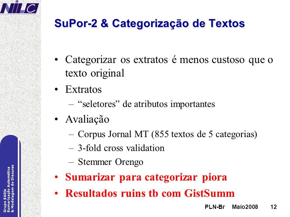 SuPor-2 & Categorização de Textos