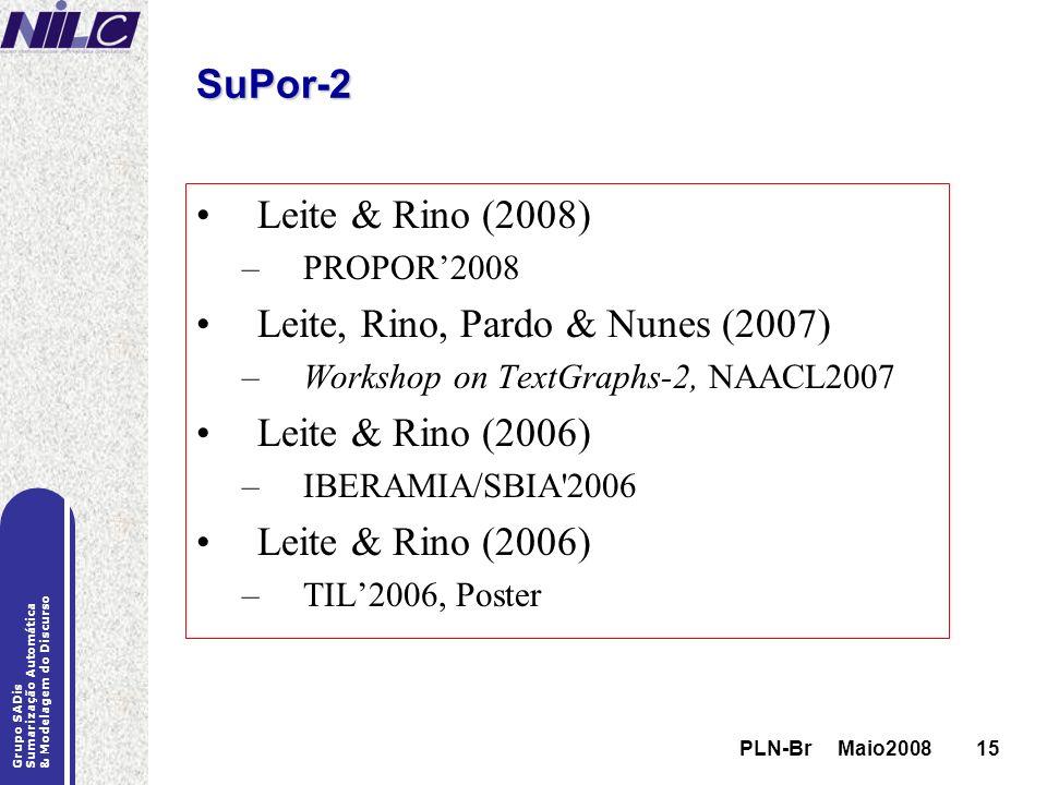 Leite, Rino, Pardo & Nunes (2007) Leite & Rino (2006)