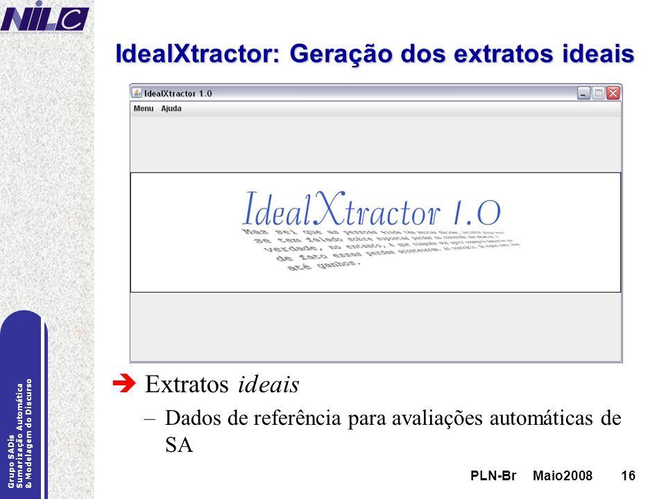 IdealXtractor: Geração dos extratos ideais