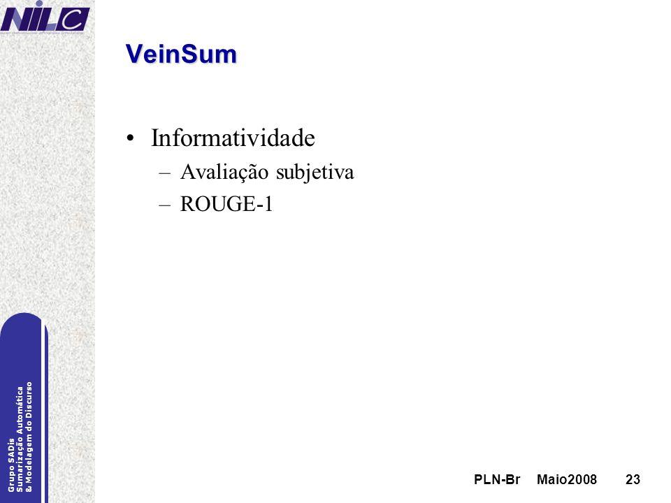 VeinSum Informatividade Avaliação subjetiva ROUGE-1