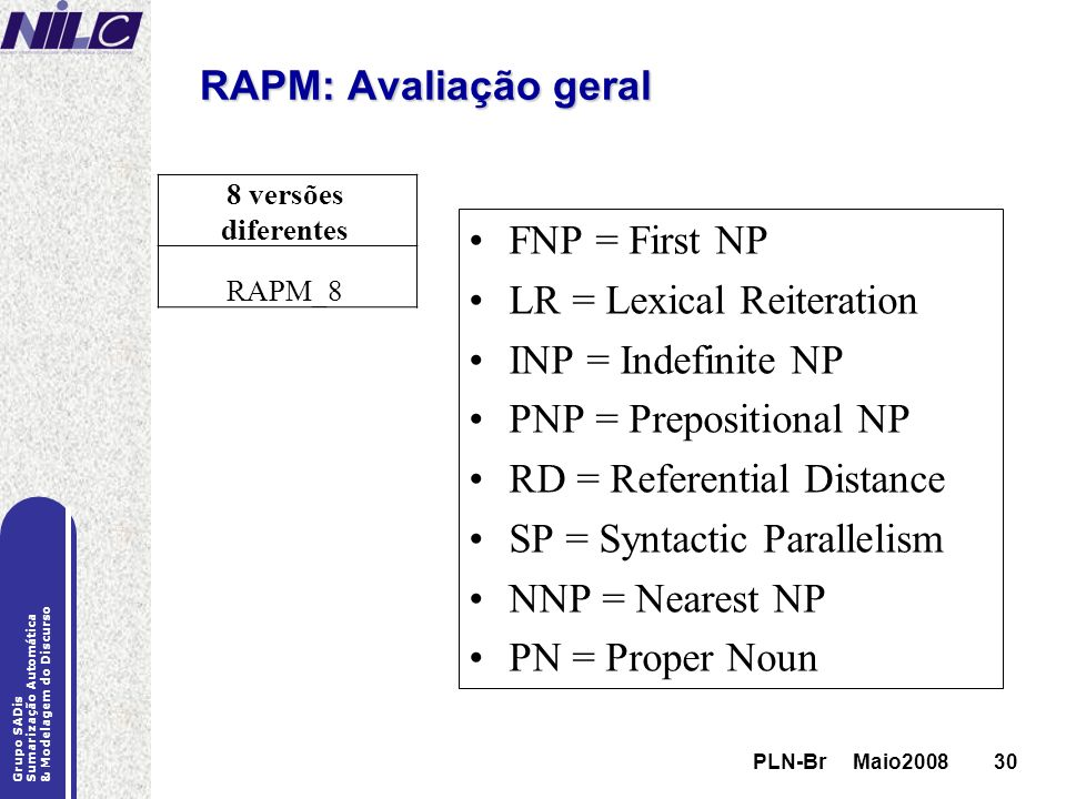 LR = Lexical Reiteration INP = Indefinite NP PNP = Prepositional NP