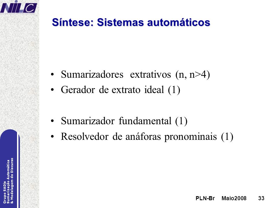 Síntese: Sistemas automáticos