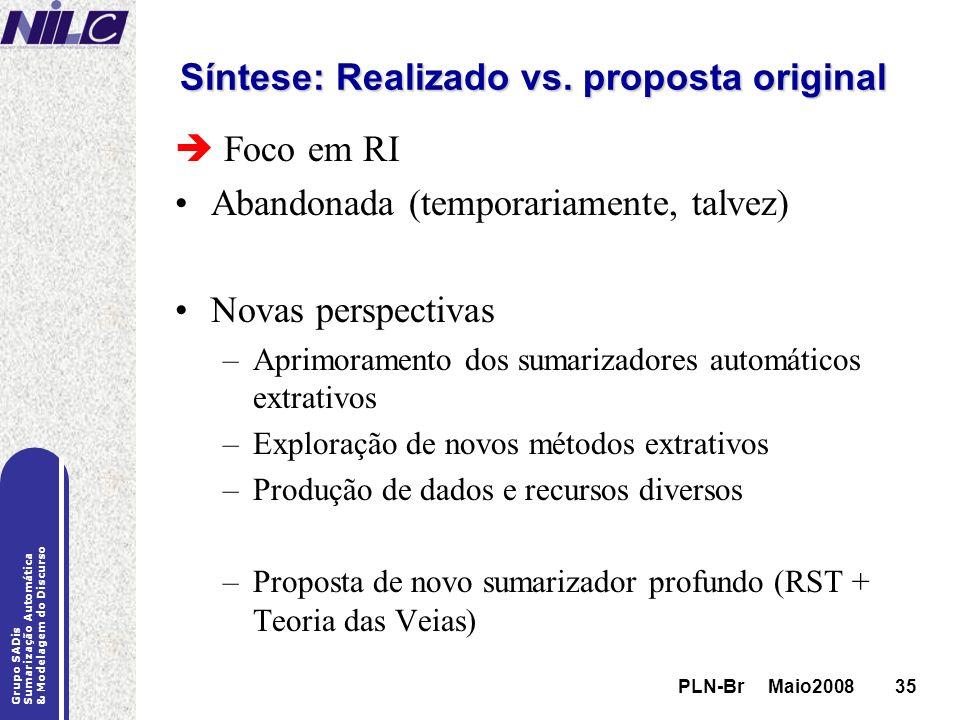 Síntese: Realizado vs. proposta original