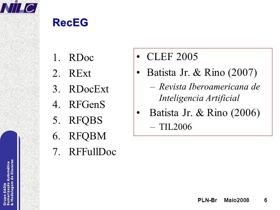 RecEG CLEF 2005 RDoc RExt Batista Jr. & Rino (2007) RDocExt RFGenS