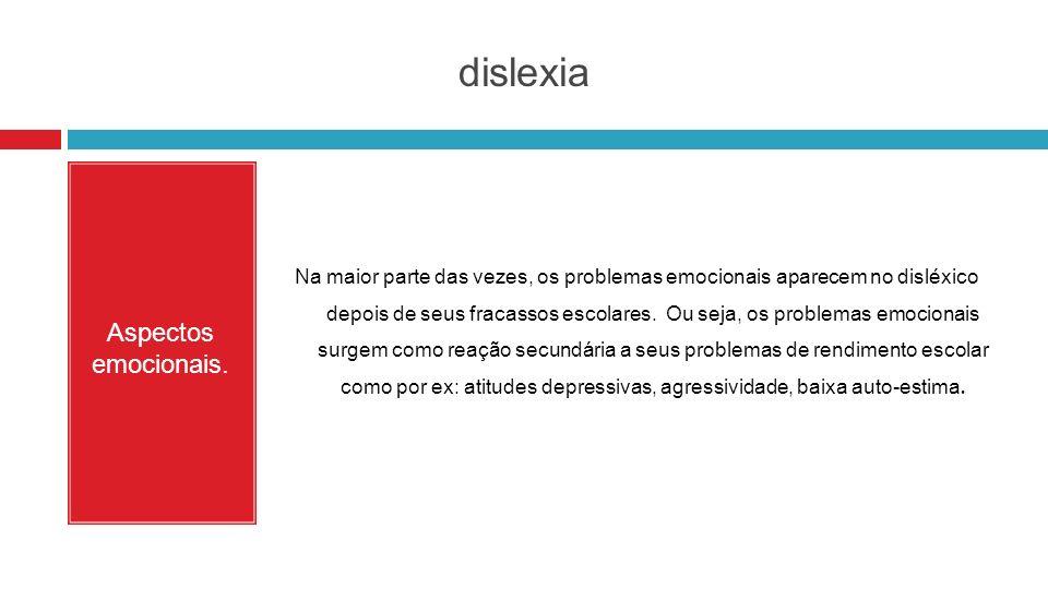 dislexia Aspectos emocionais.