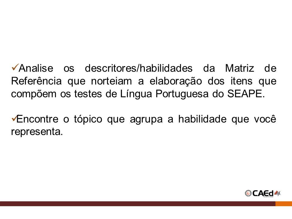 Analise os descritores/habilidades da Matriz de Referência que norteiam a elaboração dos itens que compõem os testes de Língua Portuguesa do SEAPE.