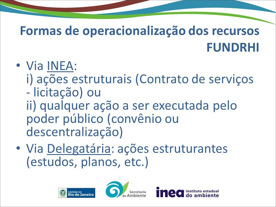 Formas de operacionalização dos recursos FUNDRHI