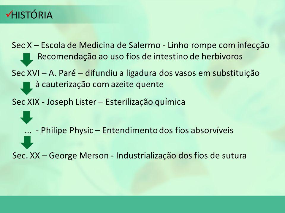 HISTÓRIA Sec X – Escola de Medicina de Salermo - Linho rompe com infecção. Recomendação ao uso fios de intestino de herbivoros.